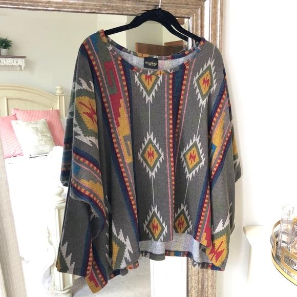 Audrey 3 + 1 Navajo Poncho Sweater